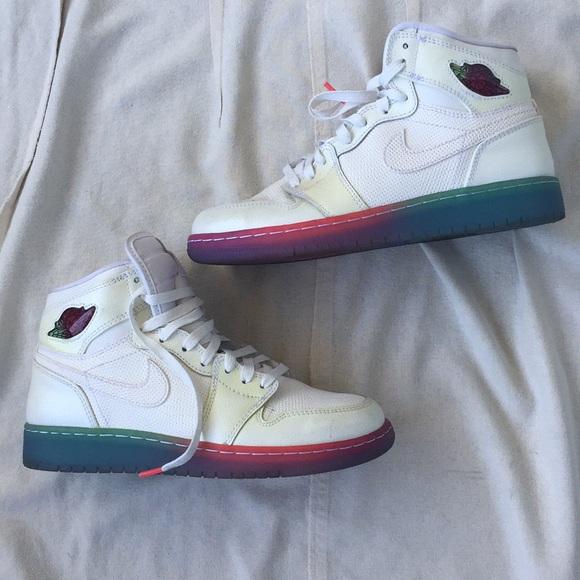 White Jordan Retro Rainbow Bottom